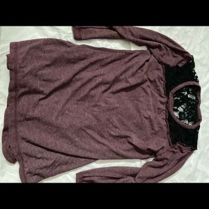 Pink/Purple long sleeve with black lace